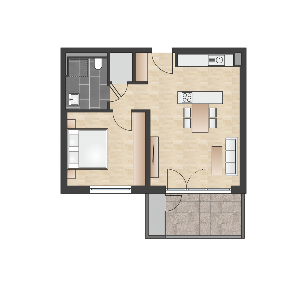 W 1.4.2 mit 55,94 m² | Preis 363.600 EUR<br> Südbalkon mit Panorama-Alpenblick