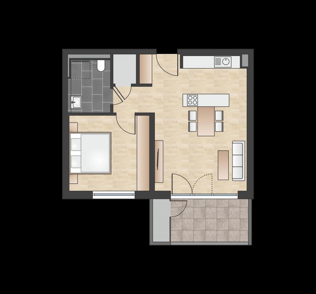 W 1.3.4 mit 55,94 m² | Preis 258.600 EUR