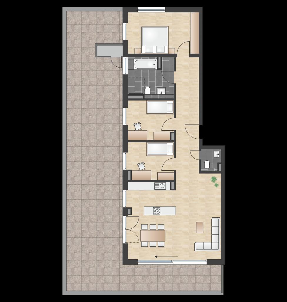 W 2.3.1 mit 145,81 m² | Preis 831.100 EUR<br> Penthouse mit großer SW-Dachterrasse, Alpenblick