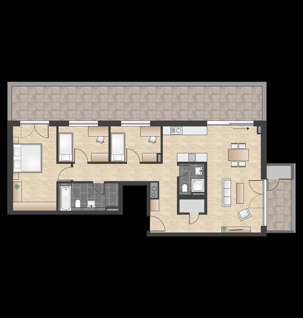 W 4.3.3 mit 122,94 m² | Preis 688.400 EUR<br> Dachterrasse mit Abendsonne, Balkon mit Morgensonne