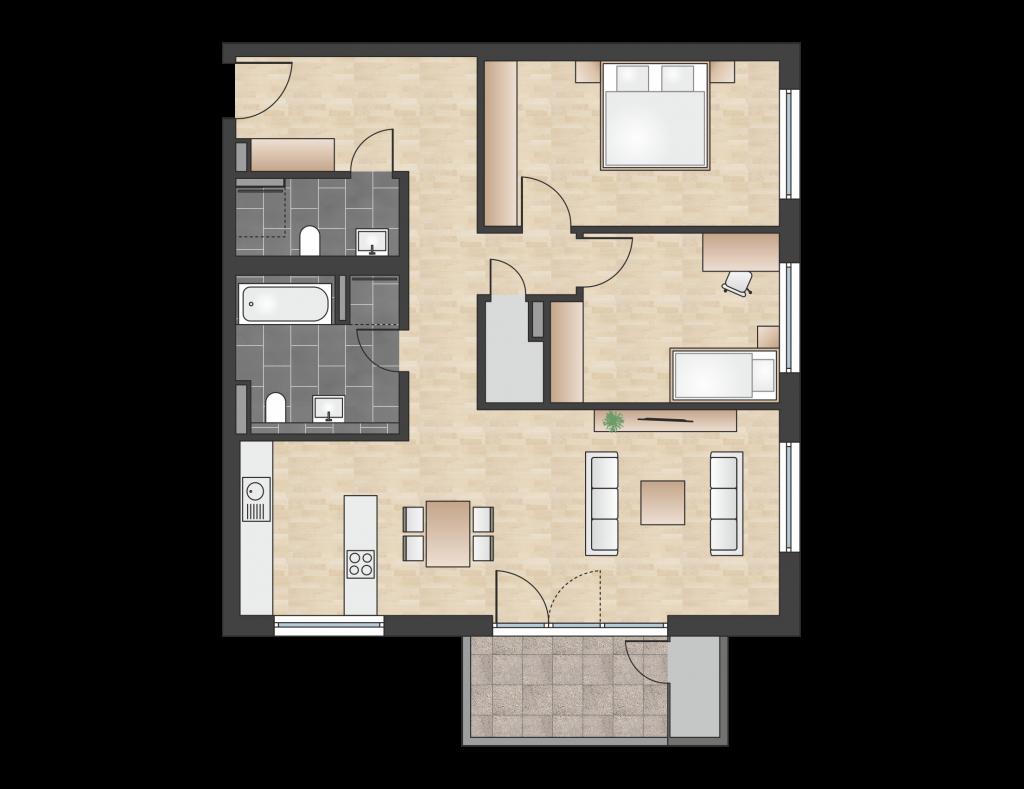W 4.0.7 mit 98,00 m² | Preis 470.800 EUR<br> Südseite mit 350 m² Privatgarten