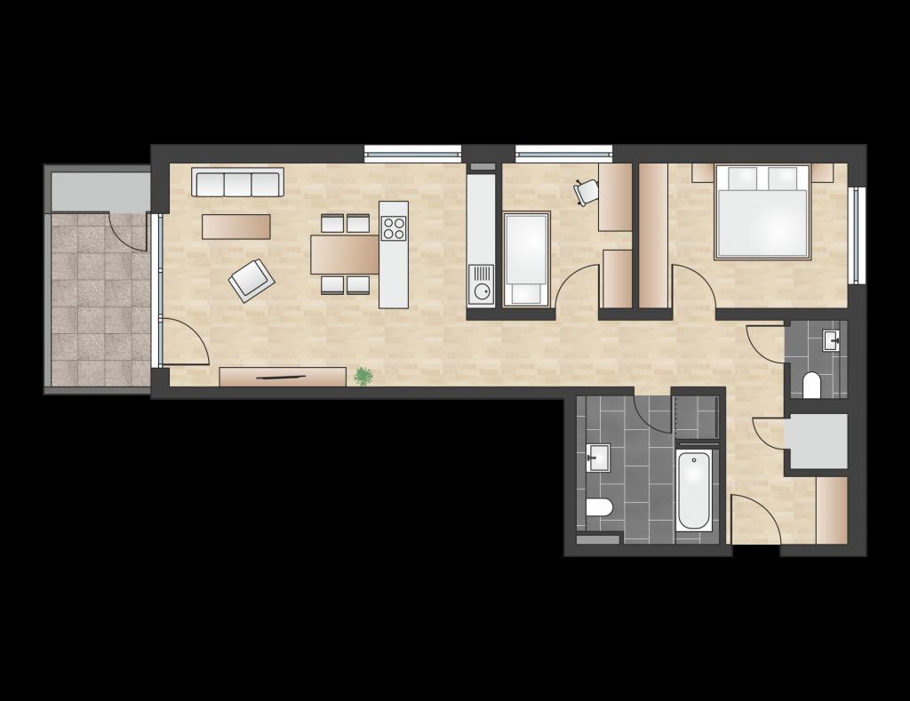 W 1.3.1 mit 80,94 m² | Preis 405.000 EUR<br> 3. Etage Westbalkon mit Fernblick