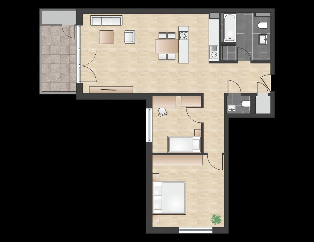 W 1.2.3 mit 90,75 m² | Preis 435.600 EUR<br> SW-Seite, 2. Etage