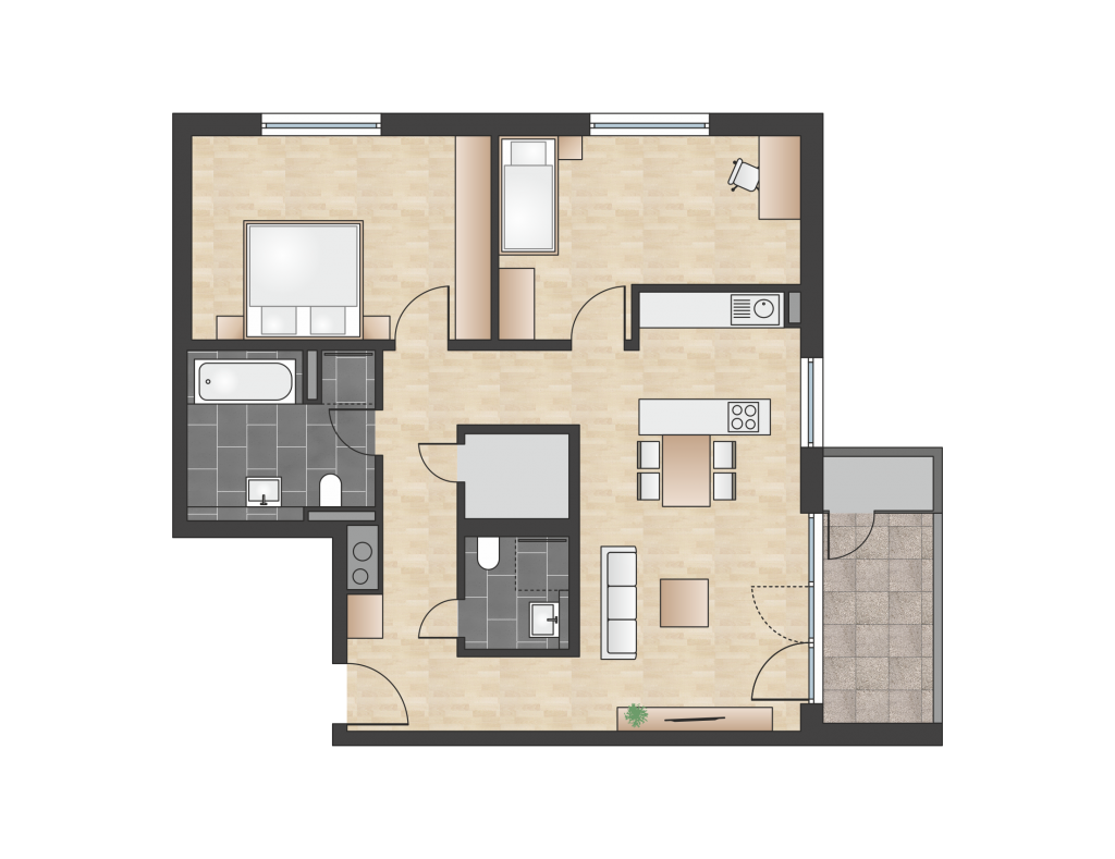 W 4.1.4 mit 90,70 m² | Preis 435.300 EUR<br> 1. Etage mit Morgensonne