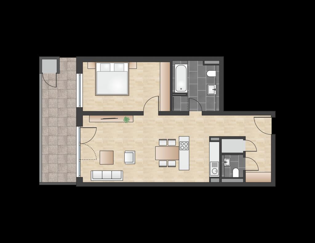 W 1.3.2 mit 72,57 m² | Preis 370.100 EUR<br> Westbalkon 3. Etage mit Fernblick