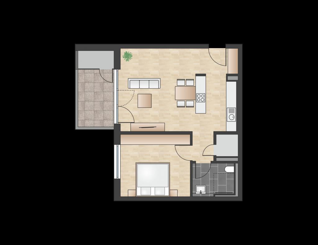 W 4.3.1 mit 60,71 m² | Preis 364.200 EUR<br> SW-Balkon in der obersten Etage