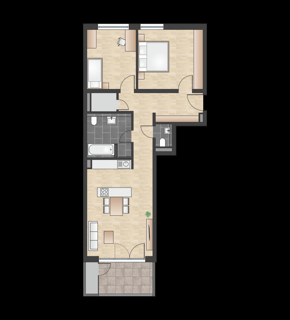 W 1.1.6 mit 82,03 m² | Preis 376.100 EUR<br> Südbalkon, 1. Etage