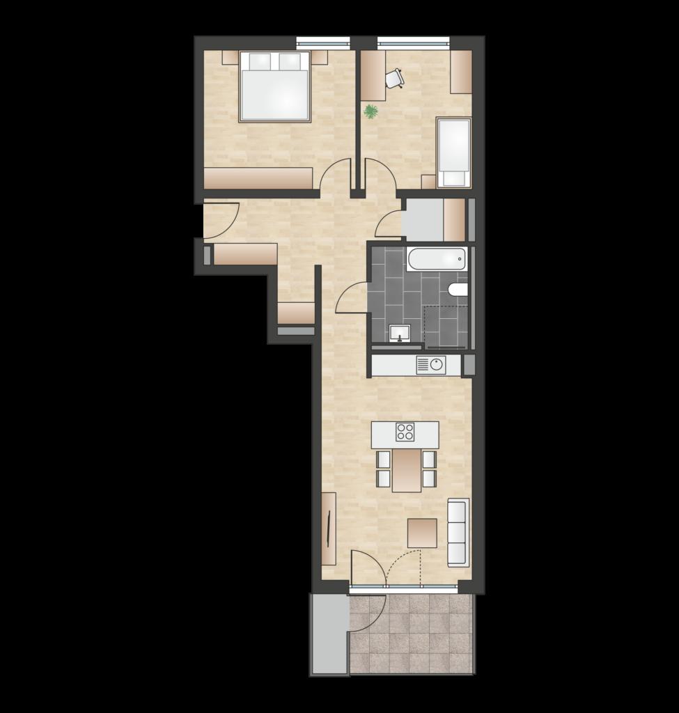 W 1.3.5 mit 81,02 m² | Preis 413.200 EUR<br>Südbalkon, 3. Etage