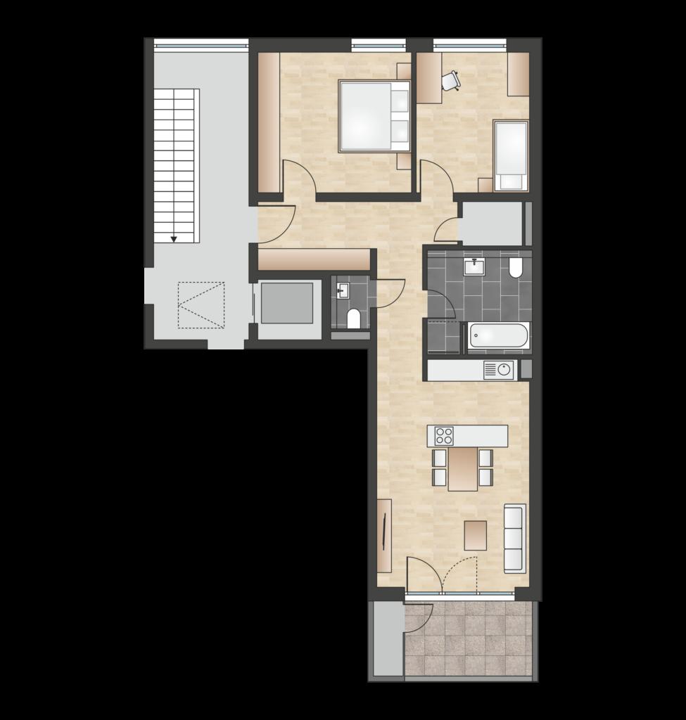 W 1.4.3 mit 81,18 m² | Preis 552.000 EUR<br> oberste Etage, Panorama-Fernblick